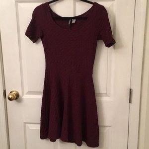 H&M Textured Purple Skater Dress